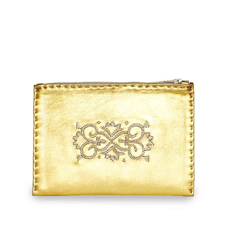 Embroidered Leather Pouch in Gold, Beige from Abury