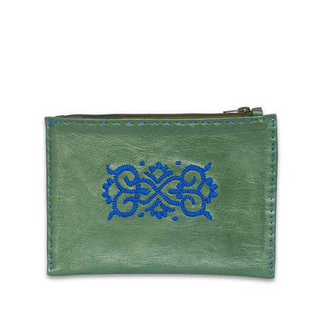 Embroidered Leather Pouch in Dark Green, Blue from Abury