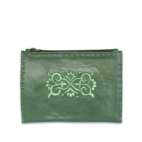 Embroidered Leather Pouch in Dark Green, Mint from Abury