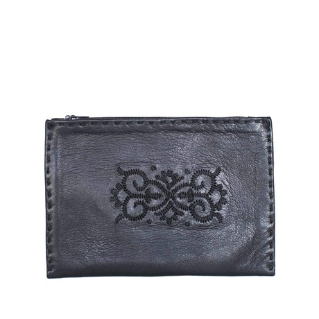 Embroidered Leather Pouch in Black from Abury