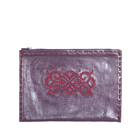 Embroidered Leather Pouch in Mauve from Abury