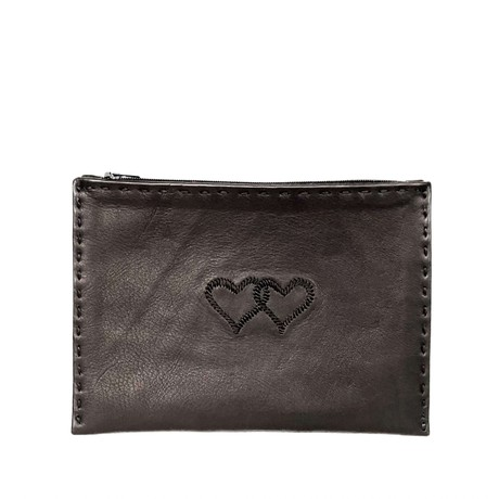 Embroidered Leather Pouch *Love Edition* in Black from Abury