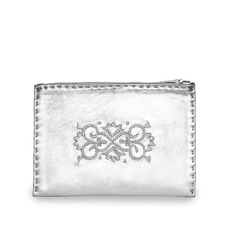 Embroidered Leather Pouch in Silver from Abury