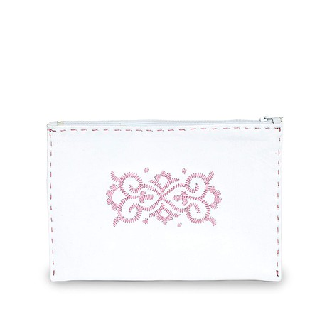 Embroidered Leather Pouch in White, Rosé from Abury