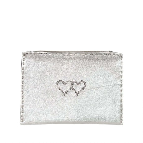 Embroidered Leather Pouch *Love Edition* in Silver from Abury