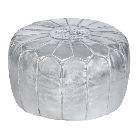 Embroidered Leather Pouf in Silver from Abury