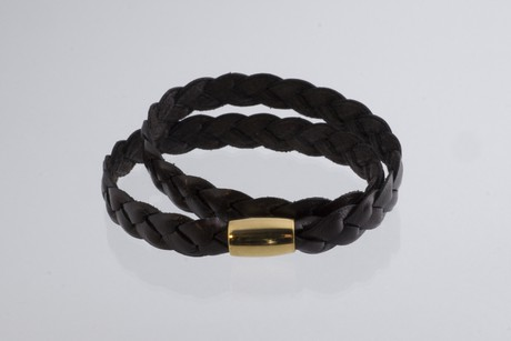 Braided leather bracelet gold plated – Espresso SALE from Julia Otilia