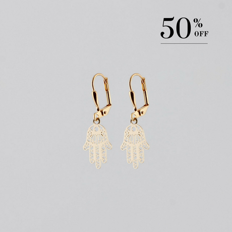 Hand of Fatima earrings gold plated SALE from Julia Otilia