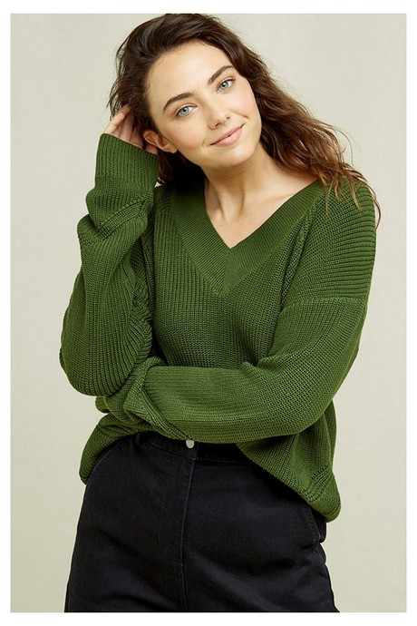 Annelisse V-neck Jumper In Khaki from People Tree