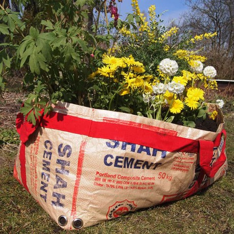Plantbag made of recycled cement sacks | medium from Tulsi Crafts