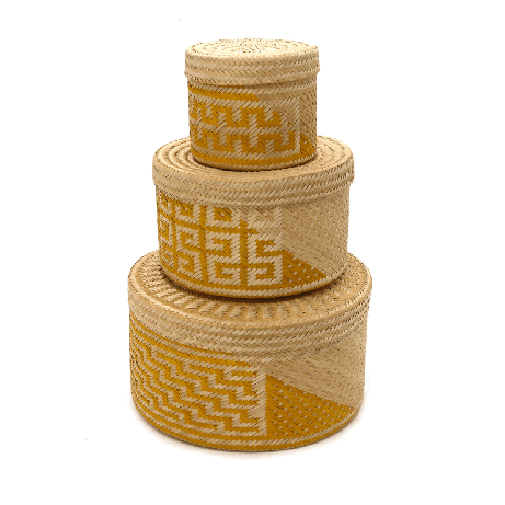 Woven Natural Straw Yellow Baskets from Urbankissed