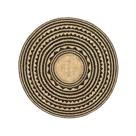 Woven Natural Straw Black Round Placemats from Urbankissed