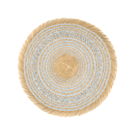 Woven Natural Straw Blue Round Placemats with Trimming from Urbankissed