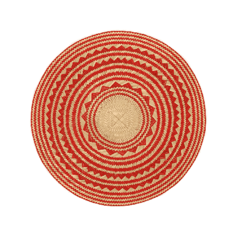 Woven Natural Straw Red Round Placemats from Urbankissed
