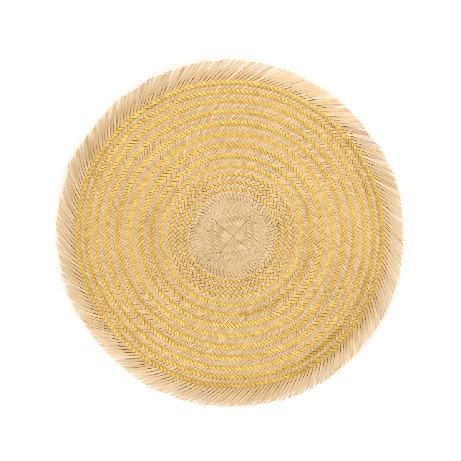 Woven Natural Straw Gold Circular Placemats with Trimming from Urbankissed