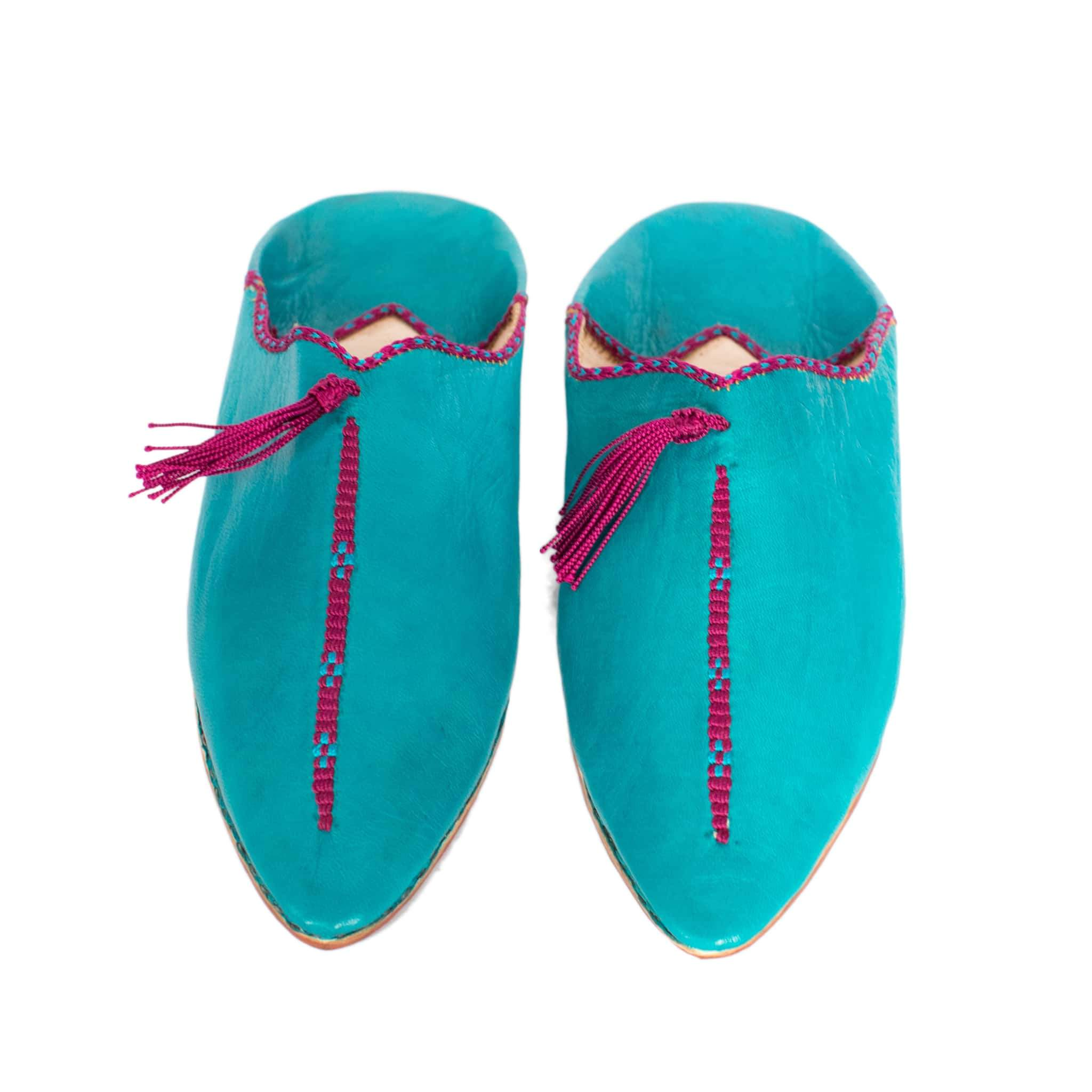 Hard Sole Babouche Leather Slippers in Turquoise, Purple from Abury