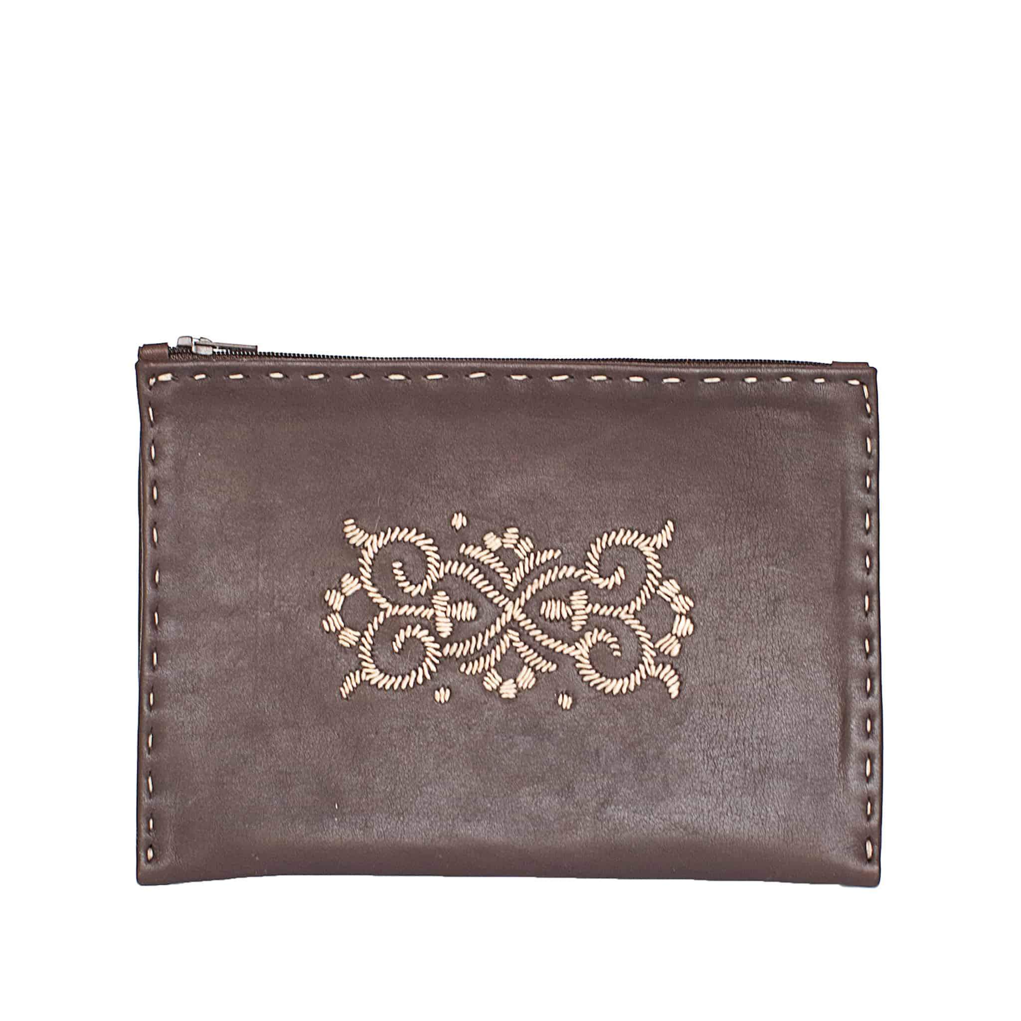Embroidered Leather Pouch in Dark Brown, Beige from Abury