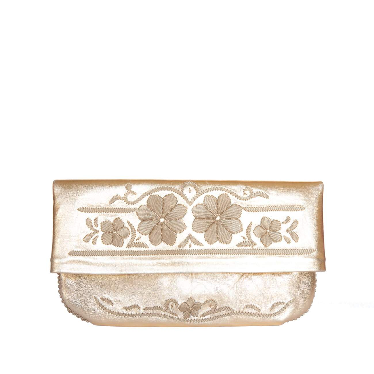Floral Evening Clutch Bag in Gold, Beige from Abury