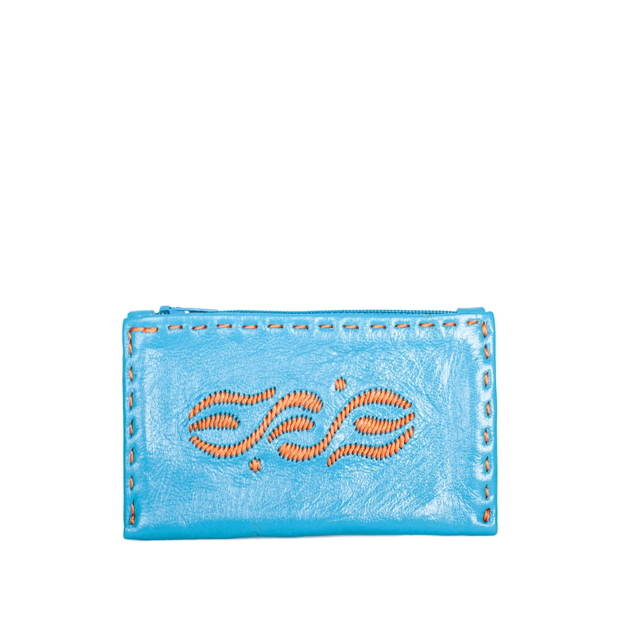 Embroidered Leather Coin Wallet in Turquoise, Orange from Abury