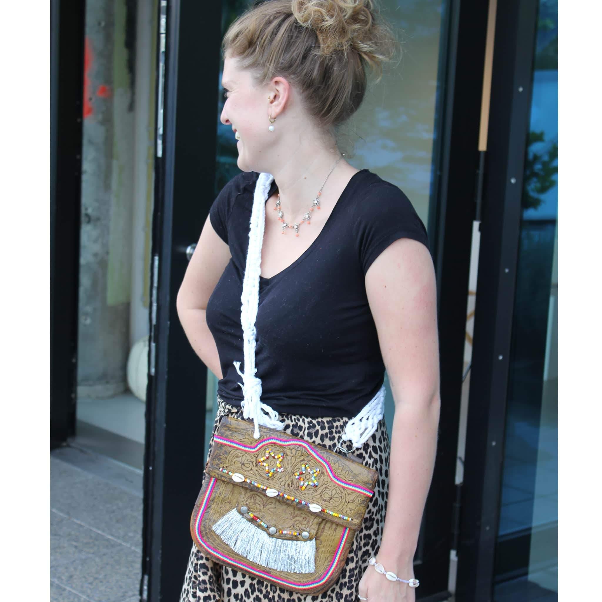 """Upcycled Vintage Leather Berber Bag """"Glastonbury"""" from Abury"""
