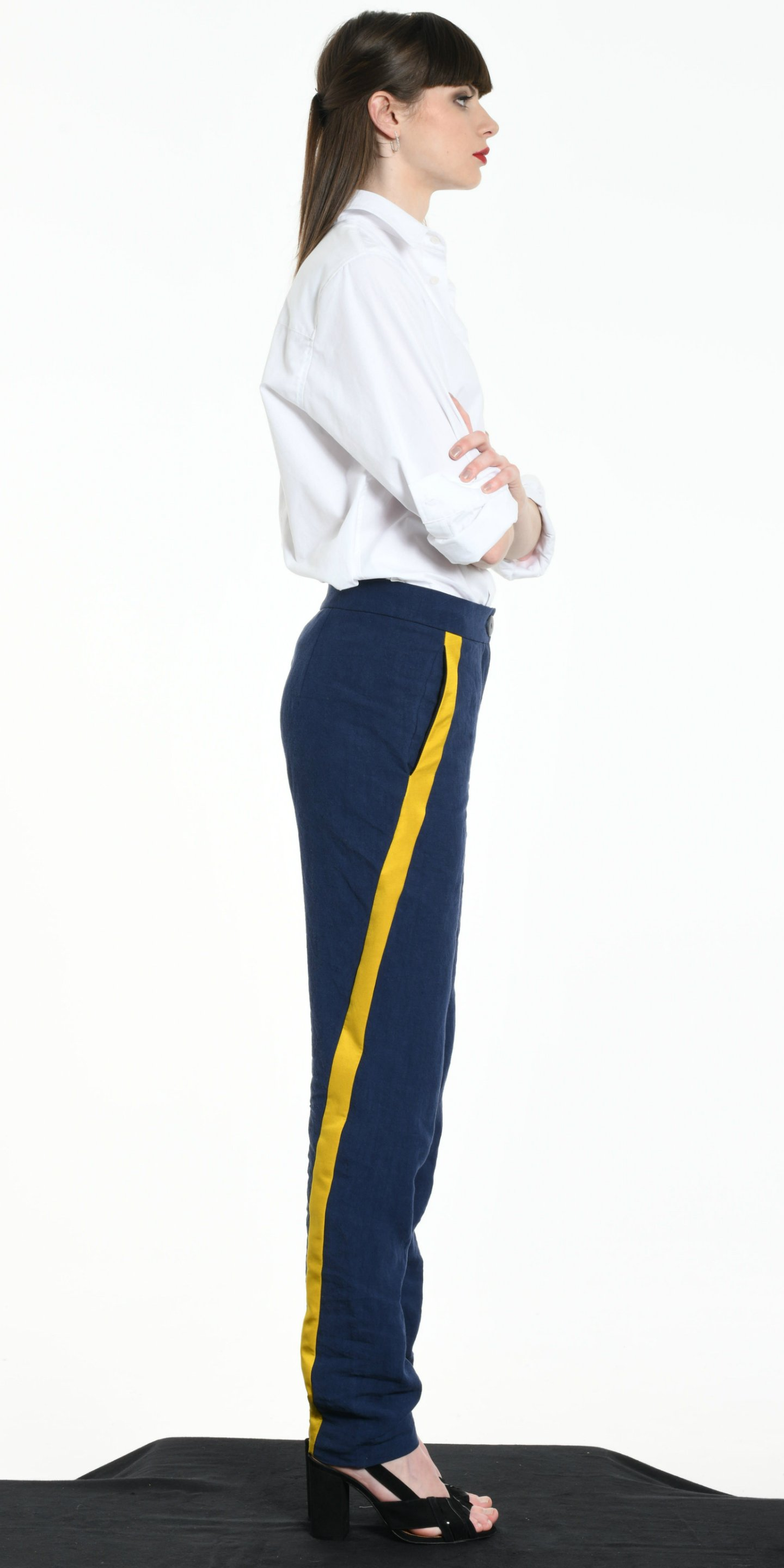 TROUSERS BLUE WITH YELLOW STRIP from BEARD & FRINGE