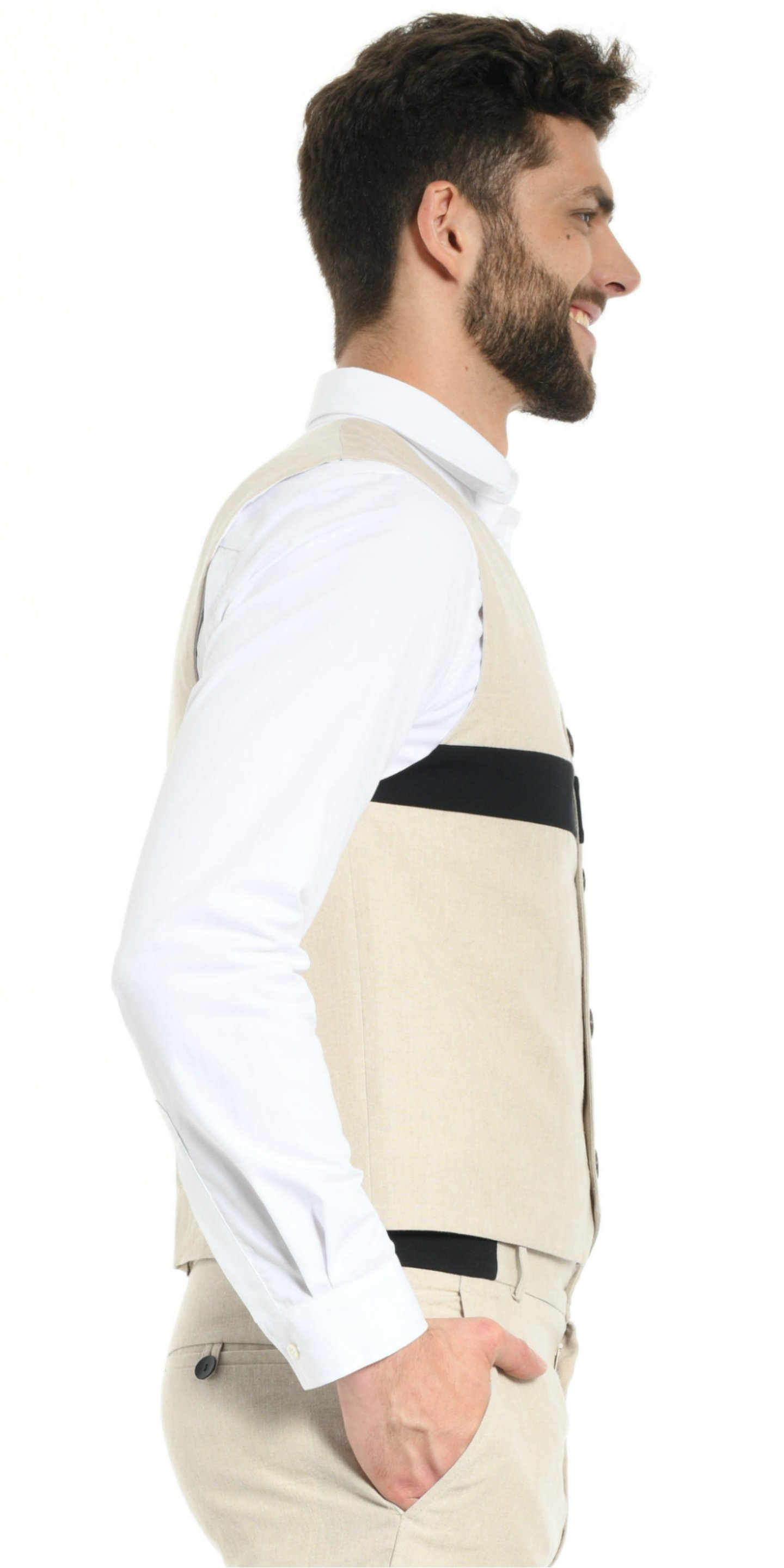VEST BEIGE WITH BLACK STRIP from BEARD & FRINGE