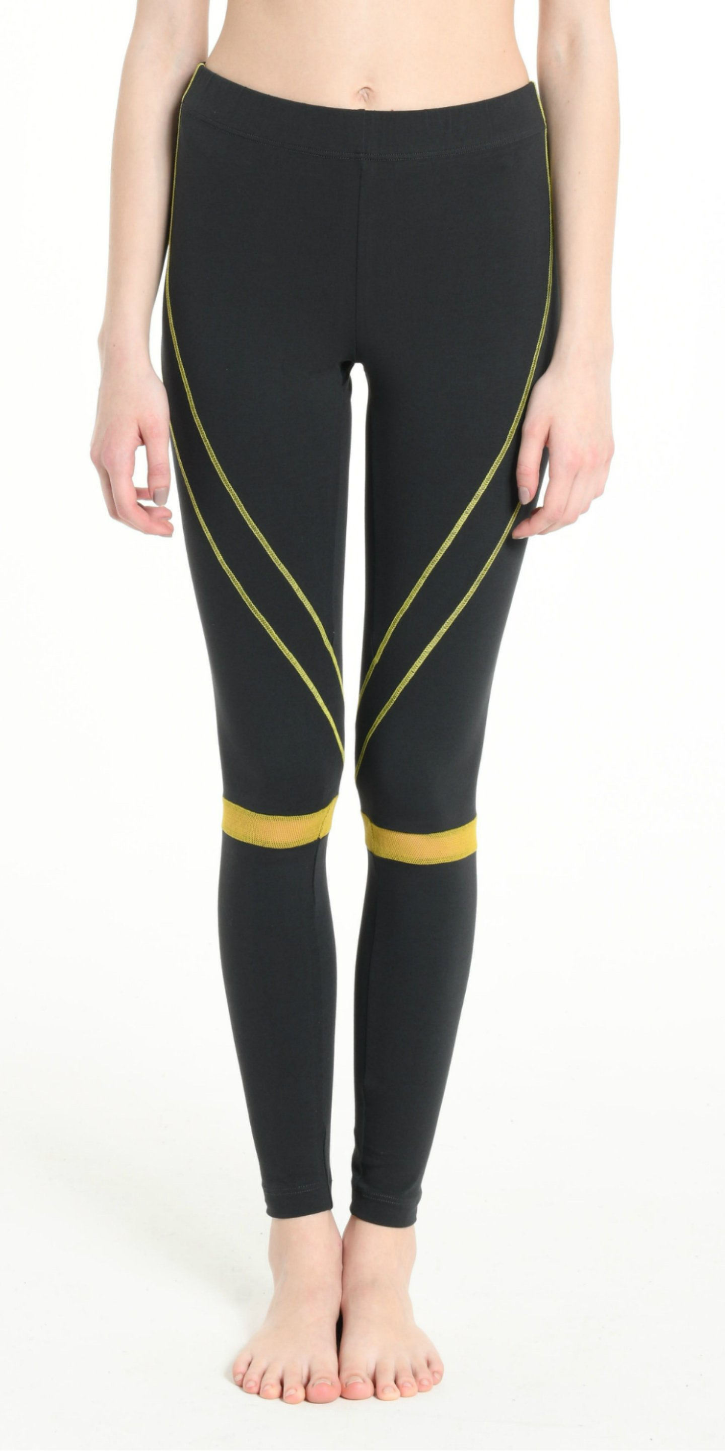 LEGGINGS DARK GREY  WITH YELLOW STRIPS from BEARD & FRINGE