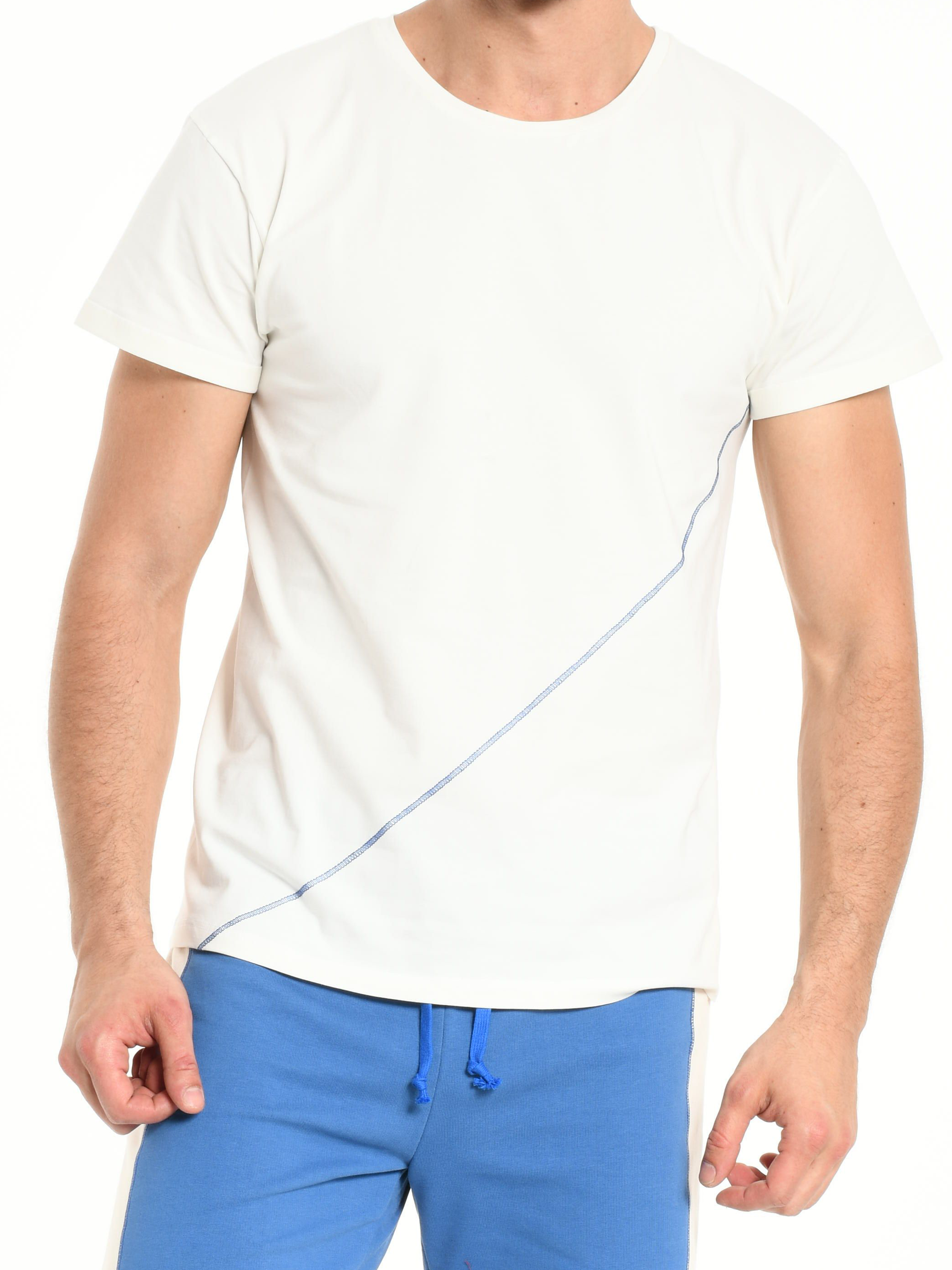 TEE SHIRT OFF WHITE DIAGONAL SEWING BLUE from BEARD & FRINGE