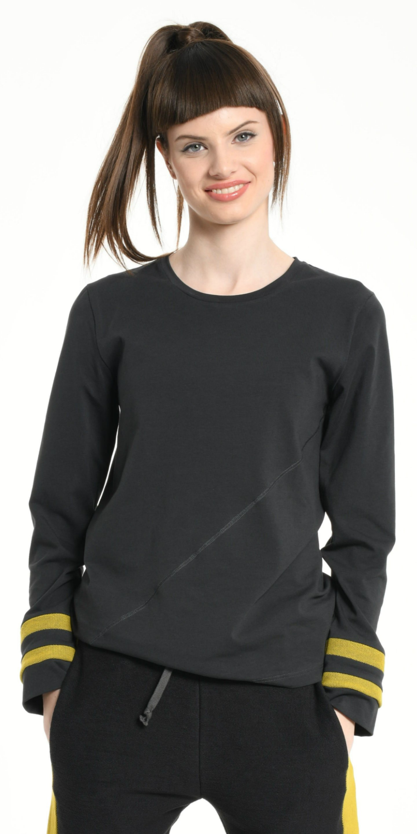 TEE SHIRT LONG SLEEVES DARK GREY WITH YELLOW STRIPS from BEARD & FRINGE