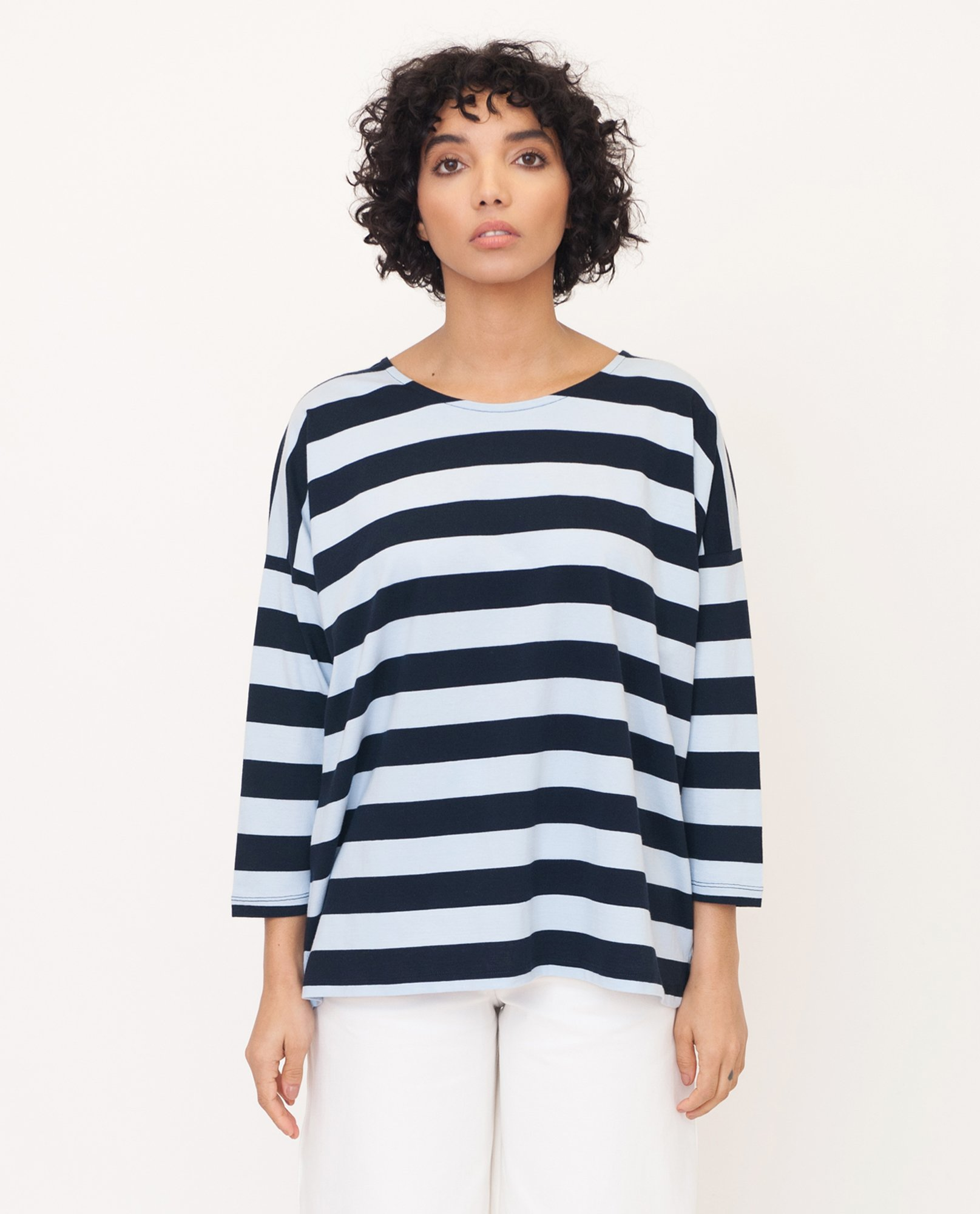 ROSIE Organic Cotton Top In Navy And Blue from Beaumont Organic