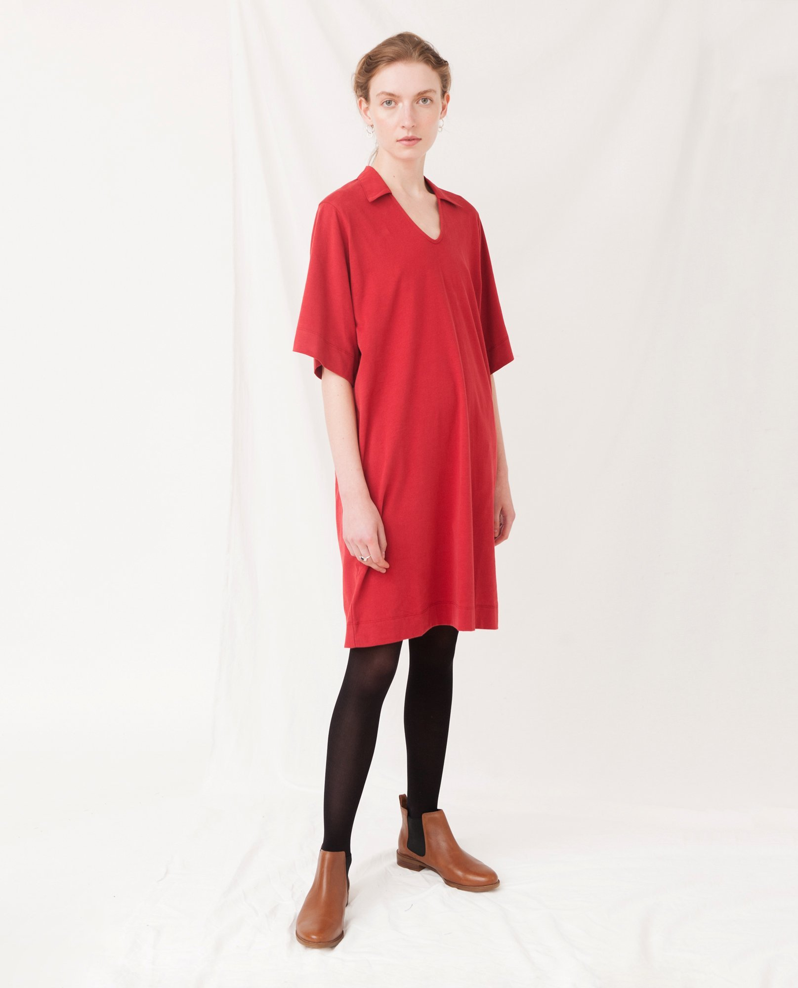 LUANA Organic Cotton Dress In Cranberry from Beaumont Organic