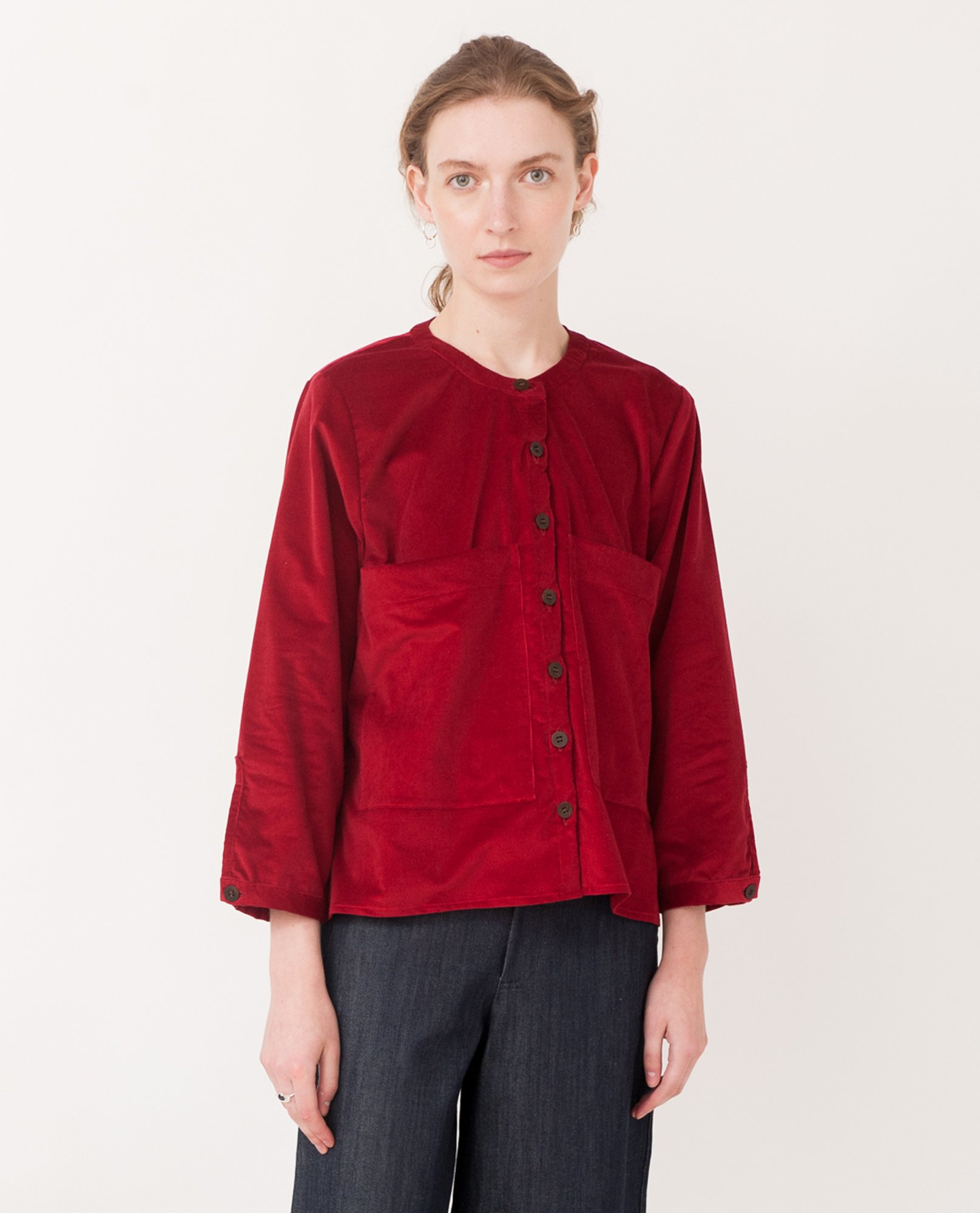BONNIE Organic Cotton Cord Shirt In Red from Beaumont Organic