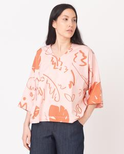 JULIA-PAIGE Organic Cotton Top In Coral And Terracotta from Beaumont Organic