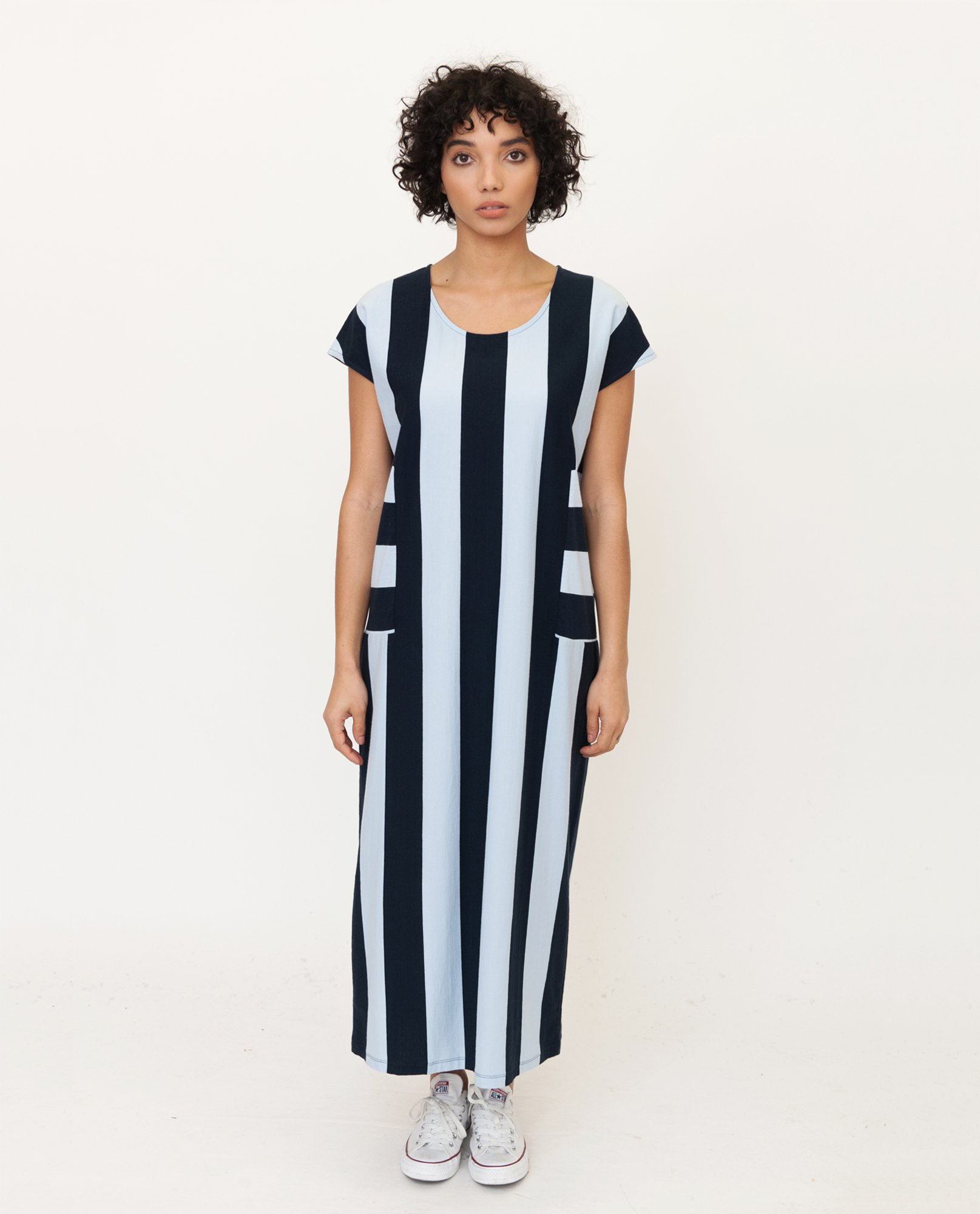 CAROL Organic Cotton Dress In Navy And Blue from Beaumont Organic