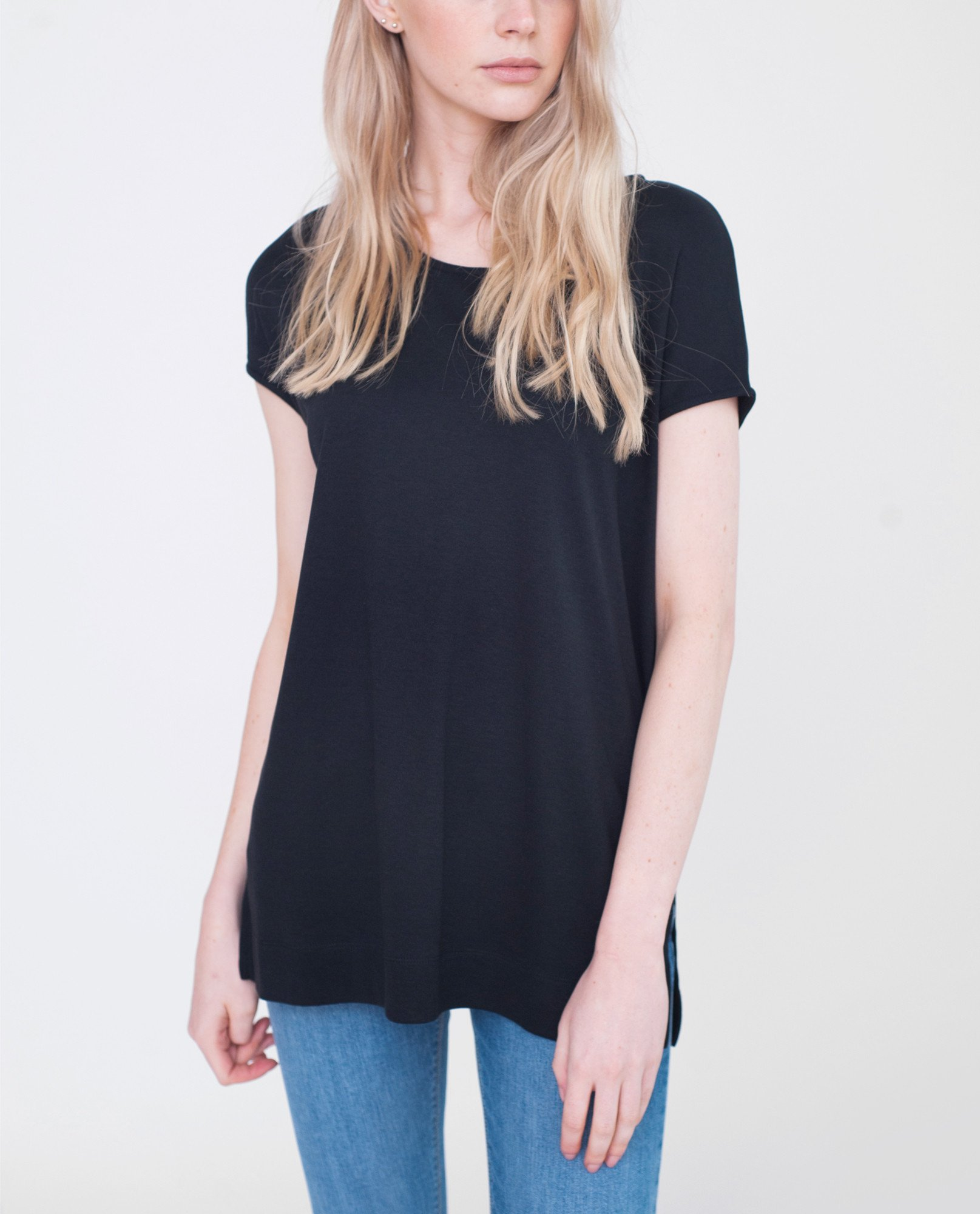 AURORA Lyocell And Cotton Top In Black from Beaumont Organic