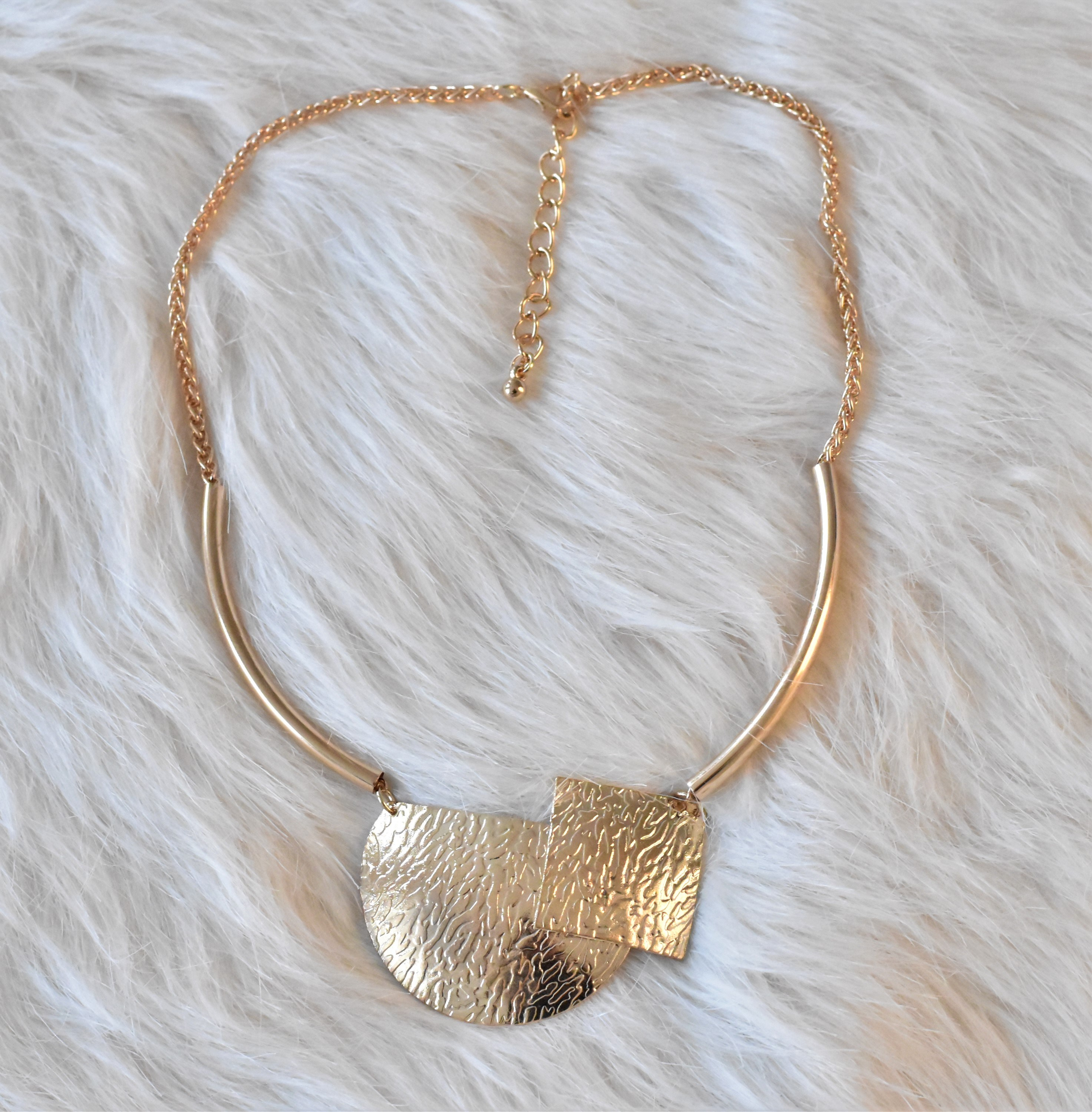 Circle and Cube Golden Necklace from Grab Your Garb