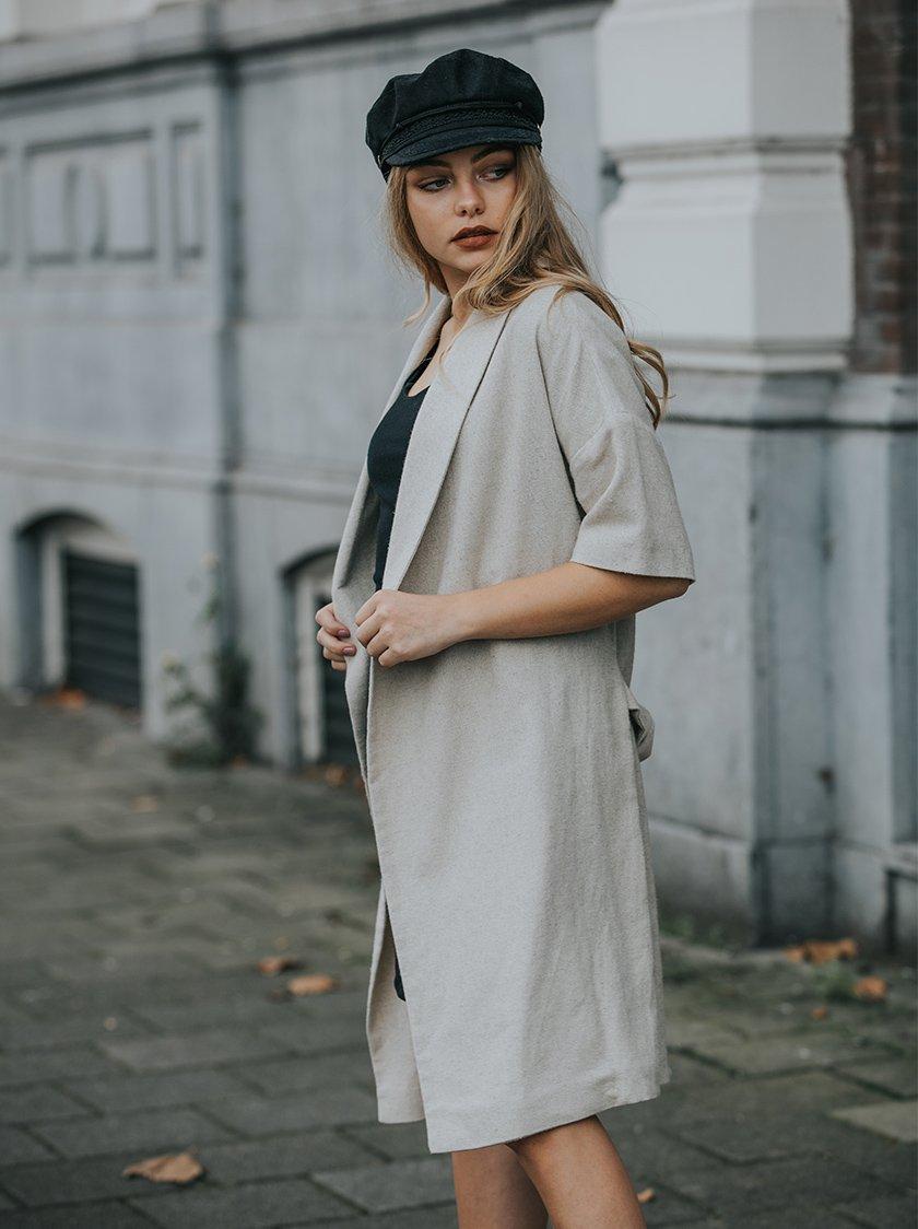 Beige Linen Coat from Noumenon