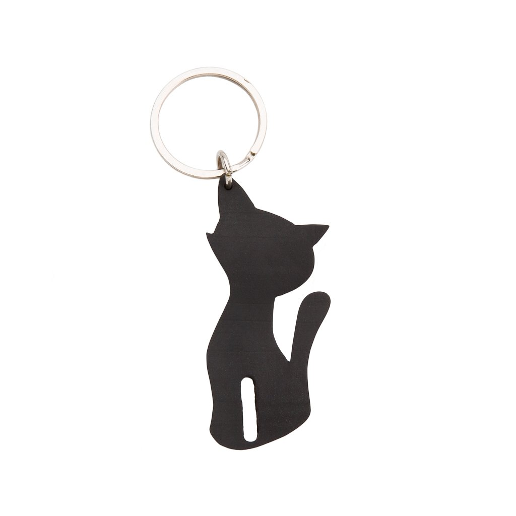 Smokey Recycled Rubber Cat Vegan Keyring from Paguro Upcycle