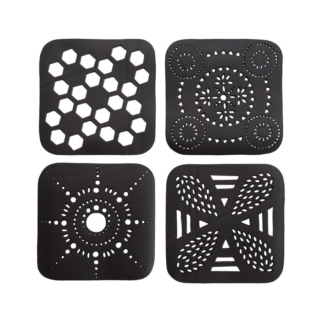 Square Handcrafted Recycled Rubber Coaster - A set of 2 or 4 from Paguro Upcycle