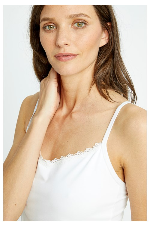 White Hidden Support Lace Trim Camisole from People Tree