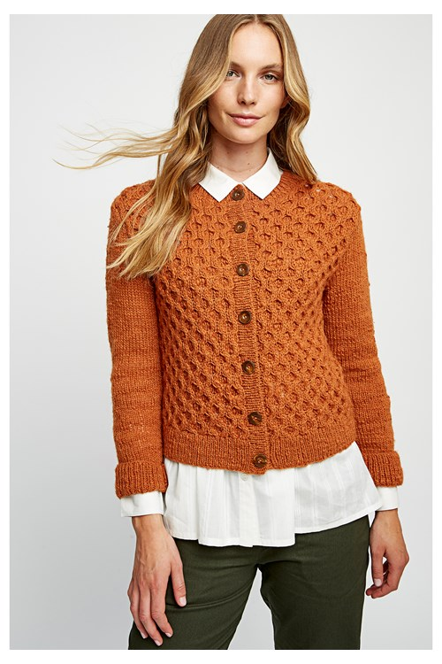 Honeycomb Cardigan in Glazed Ginger from People Tree