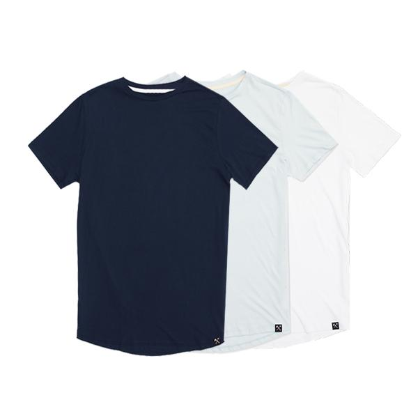 3 x : Navy + Light Blue + White organic cotton T-shirt from The Driftwood Tales