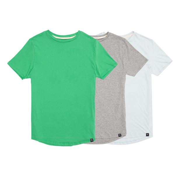 3 x : Green + Grey + Light Blue organic cotton T-shirt from The Driftwood Tales