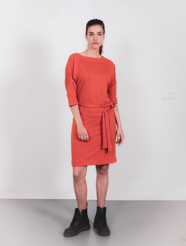 DRESS MADE OF ORANGE RECYCLED SWEATFABRIC from The Driftwood Tales