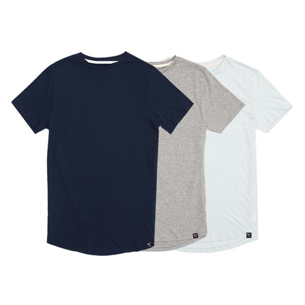 3 x : Blue + Grey+ Lightblue organic cotton T-shirt from The Driftwood Tales