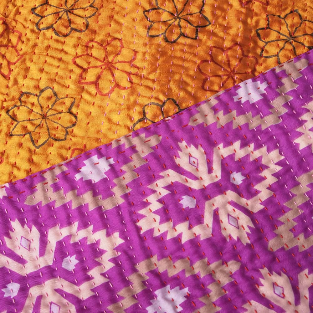 Silk sari kantha blanket big | mlana from Tulsi Crafts