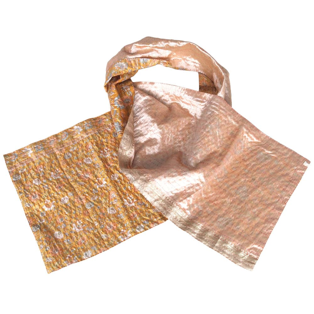 Silk sari kantha scarf | makha from Tulsi Crafts