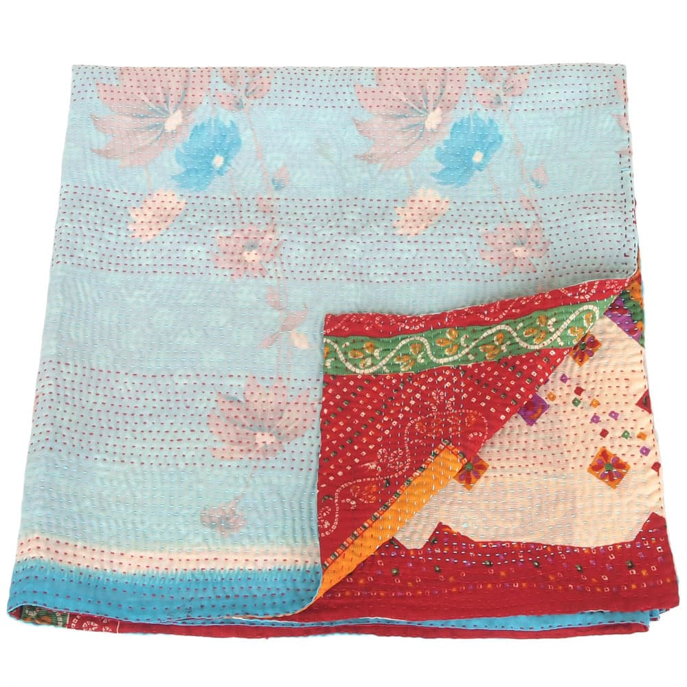Silk sari kantha blanket | rana from Tulsi Crafts
