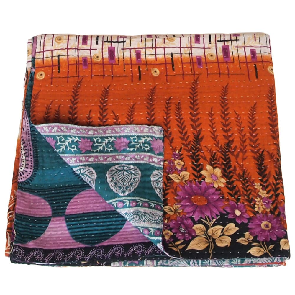 Cotton sari kantha blanket | meghla from Tulsi Crafts