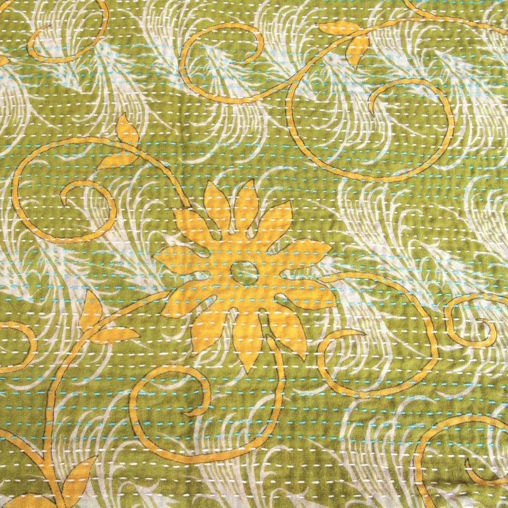 Cotton sari kantha scarf | licu from Tulsi Crafts
